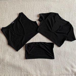 3 Nasty Gal tops: Bandeau, Cropped tank & t-shirt